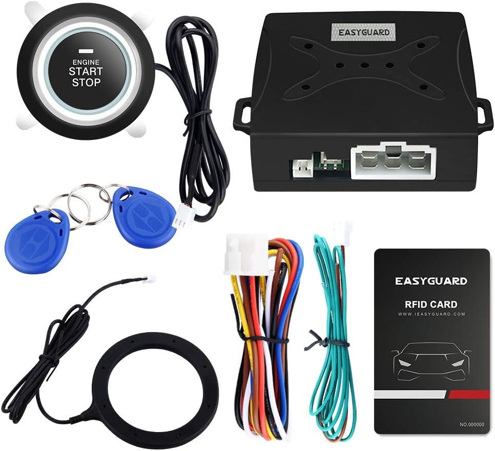 EASYGUARD EC004 Smart Rfid Car Alarm system With Push Engine Start button Transponder Immobilizer Keyless Go System
