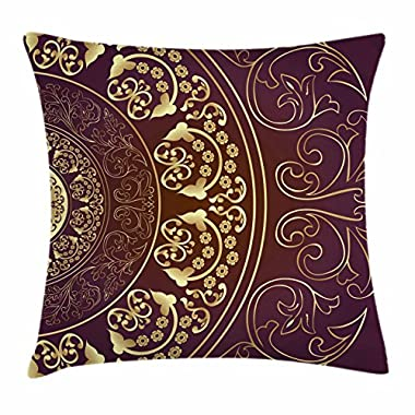 Ambesonne Mandala Throw Pillow Cushion Cover, Vintage Ethnic Asian Spiritual Cosmos Pattern with Swirled Floral Leaves Artwork, Decorative Square Accent Pillow Case, 18 X 18 Inches, Burgundy Gold