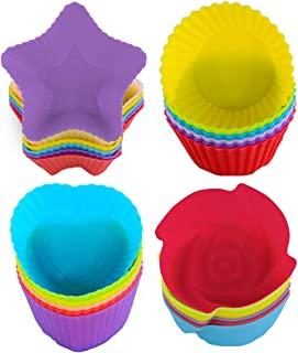 Silicone Cupcake Molds - WENTS 24 Pack Reusable Nonstick Baking Cases Muffin Rainbow Cupcake Molds for Making Muffin Chocolate Bread Cakes Ice Creams Puddings Jelly Random Color