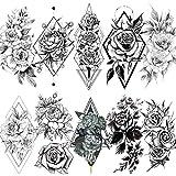 LAROI 10 Blätter Sexy geometrische Rose Pfingstrosestil Erwachsene Temporäre Tattoos