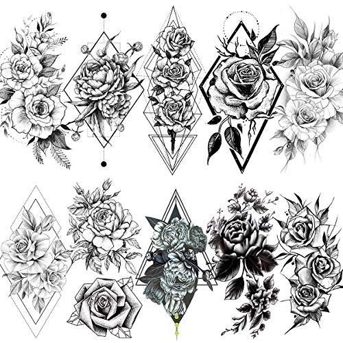 LAROI 10 Hojas Geométrica Rosa Peonía Estilo Adultos Tatuajes Tempor
