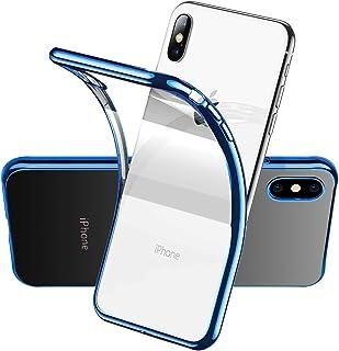 アイフォンxsケース 透明 薄,アイフォン xs x ケース/xsケース クリア 耐衝撃 軽量 背面フィル 高級感,iphone xs/x 人気ケース ソフトケース シリコンケース 薄型ケース tpuケース 携帯カバー シリコン ブルー かわい...