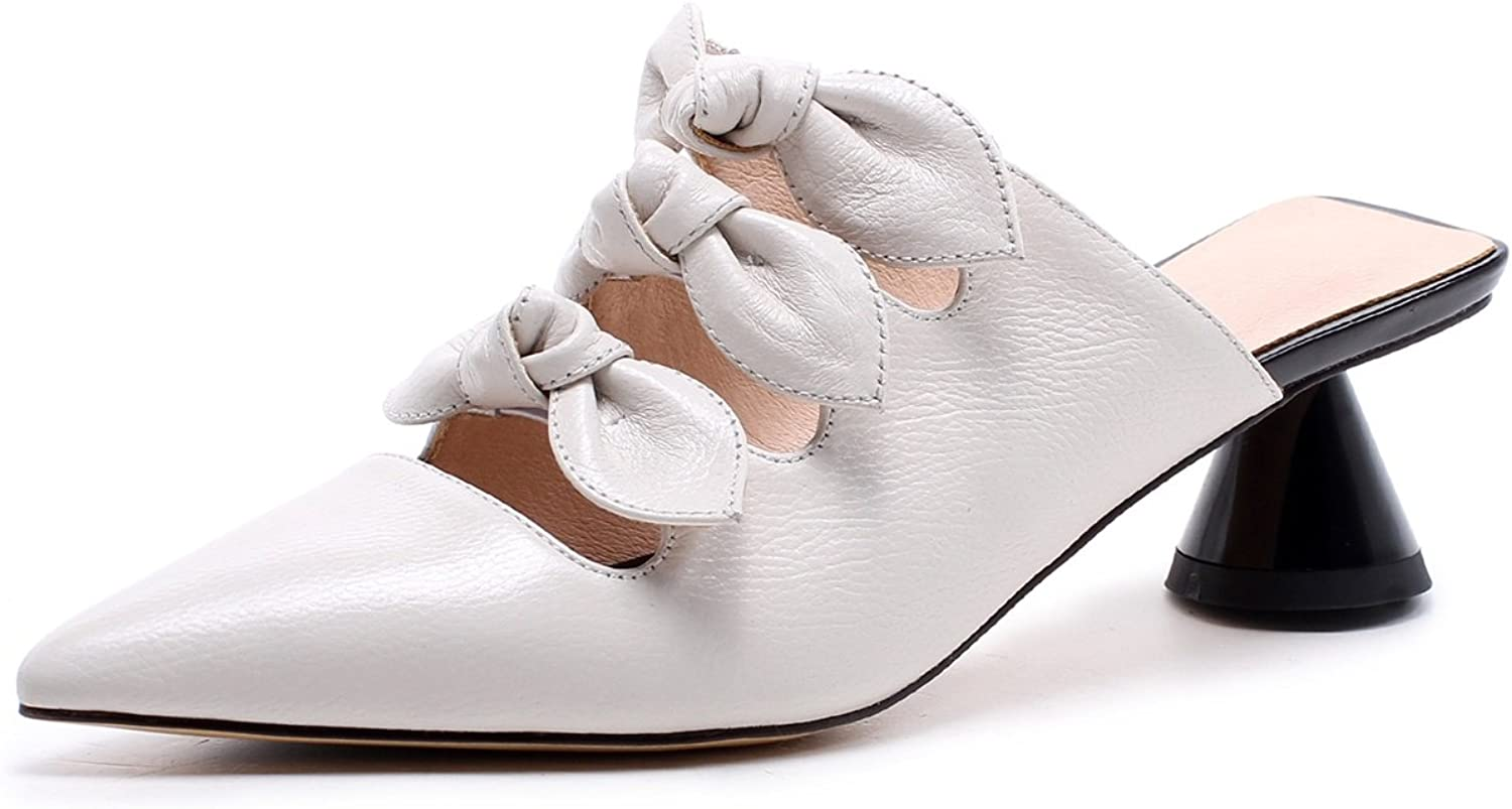 b019d17c1e4f2 Mid White Black Outdoor for Bowknot Heel Sandals Toe Pointed Slip ...