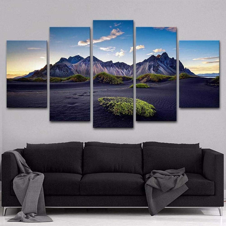 precioso WZYWLH HD HD HD Pintura Impresa Arte Moderno Arte de La Parojo Marco de Imágenes de 5 Paneles Dunas de Montaa y Arena Vista del Sol Decoración para el Hogar Pósteres Salón  oferta especial