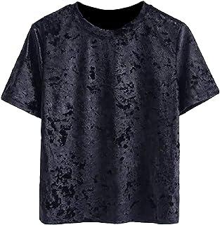 UUYUK Women Short Sleeve Solid Color T Shirt Tee T-Shirts Velour