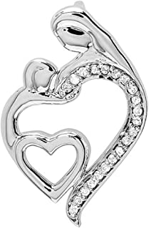 0.15 Carat (ctw) Round Diamond Mothers Day Special Mom Child Ladies Pendant, Sterling Silver