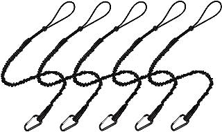 BESNIN ツールストラップ 5本パック 安全ツールリーシュ 格納式バンジーコード アルミニウムロックカラビナ 調節可能なループエンド 最大重量制限13.6kg / 30ポンド 落下拘束 ショックコードストッパー付き