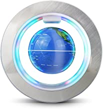 Aukee Magnetic Floating Globe World Map Circular Frame with Colorful LED for Home Office Desk Decoration 4 inch Blue