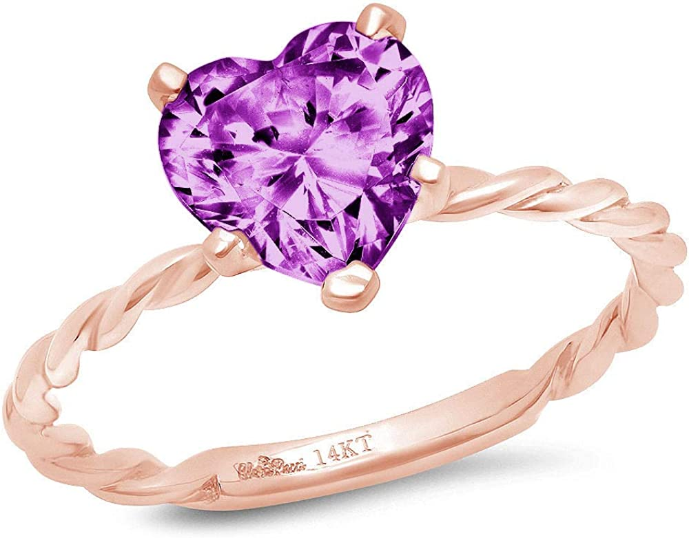 2.0ct Brilliant Heart Cut Solitaire Rope Twisted Knot Flawless Simulated Purple Alexandrite CZ Ideal VVS1 5-Prong Engagement Wedding Promise Anniversary Designer Ring Solid 14k Pink Rose Gold Women