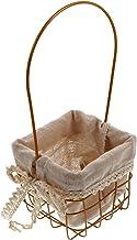 EXCEART Kosz metalowy, kosz uniwersalny, żelazny, sztuka, złoty, prostokątny, bawełna, koszyk na kwiaty, wesele, ceremoni...