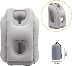 Humas Travel Pillow Ergonomic Comfortable and Protable Flight Sleep Inflatable Pillow, Easy Carrying for Airplanes, Trains, Office Napping, Camping etc. (Grey)