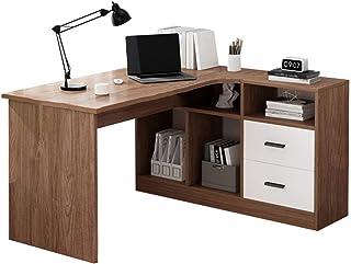 Desk Bureau d'angle d'ordinateur en Forme de L avec huche, Bureau d'étude de Table de Poste de Travail en Bois Moderne de ...