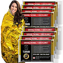 TEBRION 8 Packs Double Sided Emergency Thermal Foil Authentic Mylar Space Blankets