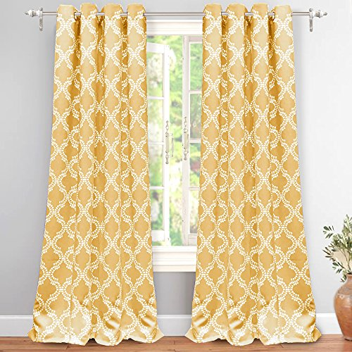 DriftAway Julianna Geometric Pattern Thermal Insulated Blackout Room Darkening Grommet Unlined Window Curtains 2 Panels Each Size 52 Inch by 96 Inch Golden Yellow