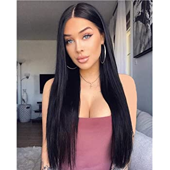 Stamped Glorious Black Wig Long Straight Middle Part Wigs for Women Synthetic 26 Inch Women Long Hair Wigs Daily Party Use(Black)
