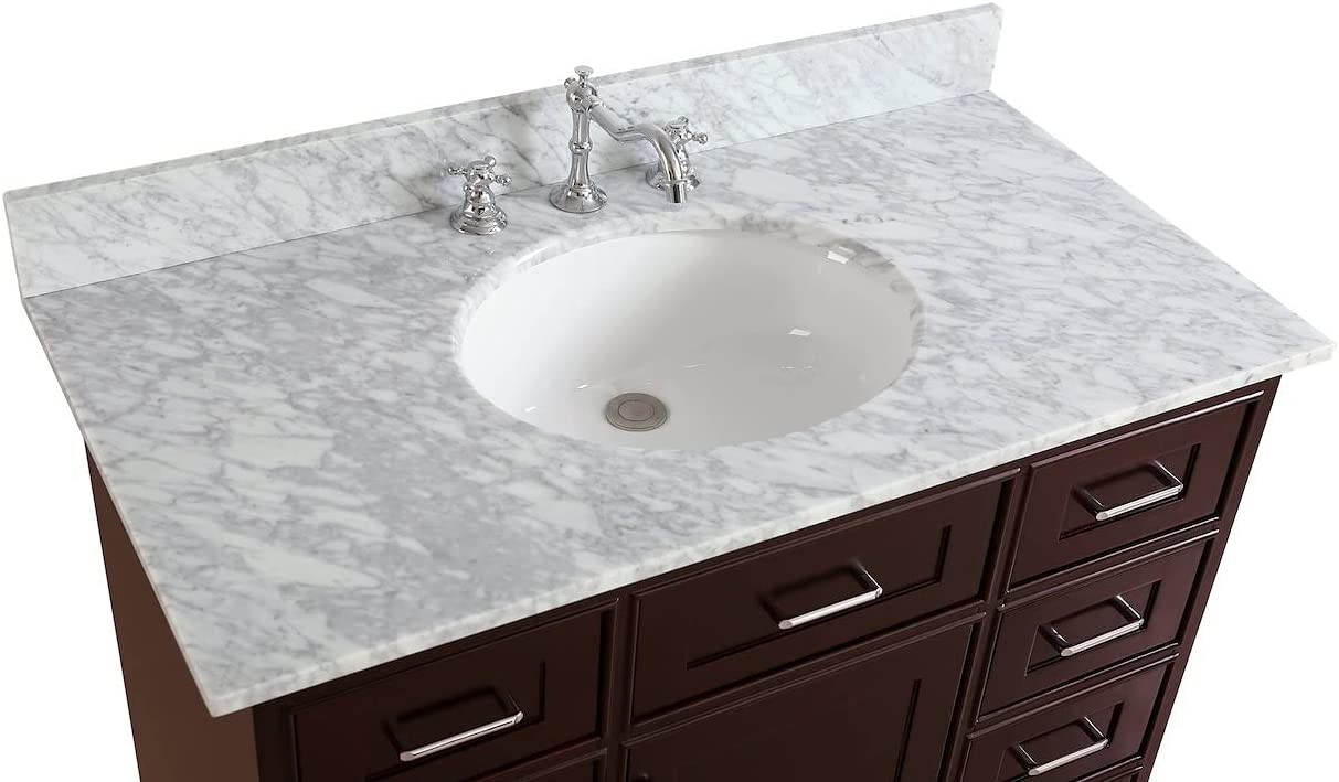 Amazon Com Aria 42 Inch Bathroom Vanity Chocolate Carrara Includes Chocolate Cabinet With Authentic Italian Carrara Marble Countertop And White Ceramic Sink Everything Else
