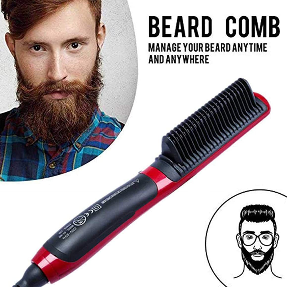 Fullwei Hair Straightener Brush   Anti-Scald Feature Electric Beard Straightener Comb   Ceramic Heating - Preheat Within 30 Seconds Professional Quick Styling Comb for Beard Hair (A)