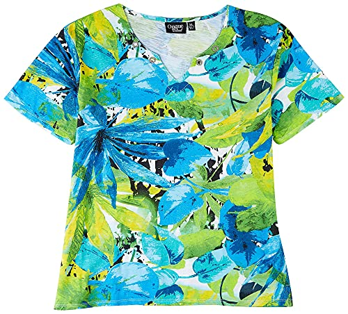 Onque Casual Womens Decorative Gemstone Short Sleeve Top X-Large Blue Multi