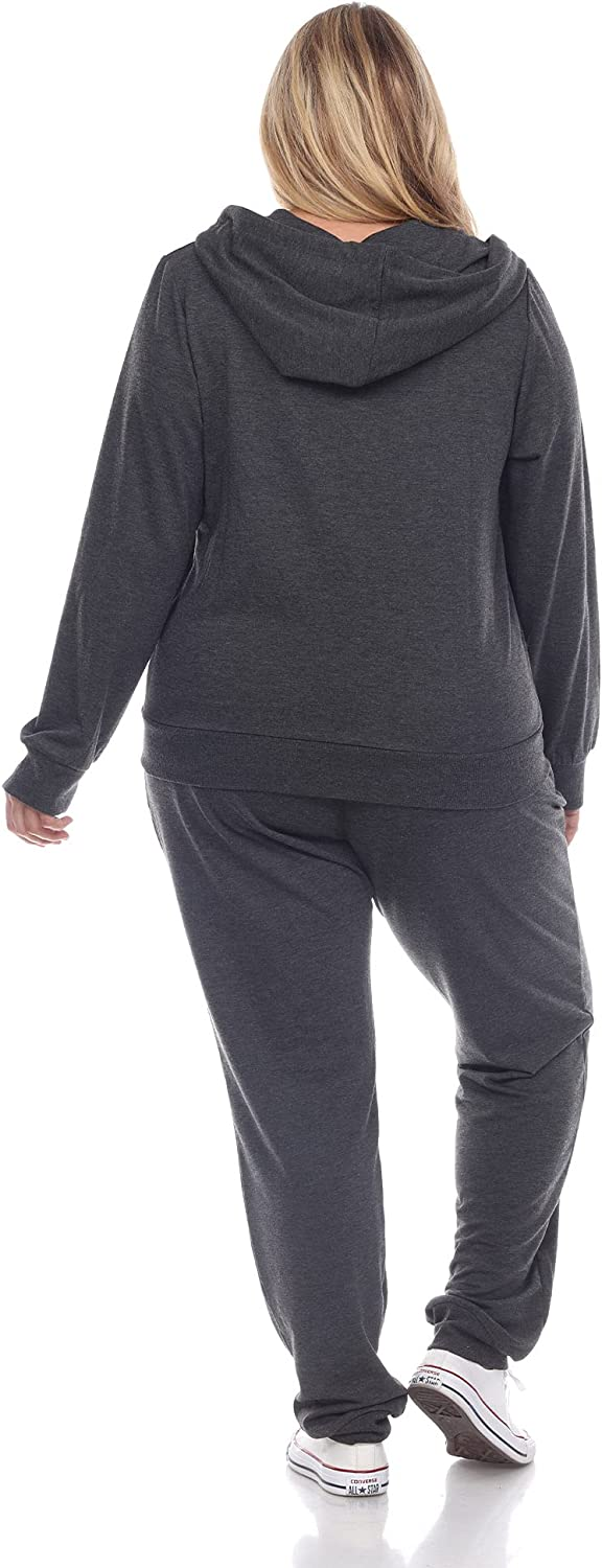 White Mark Women's Plus Size French Terry Zip Up Hoodie and Full Length Jogger Pant Set