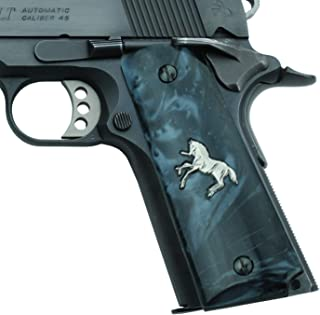 Altamont 1911 Grips - Pearl - Full Size 1911 Grips w. Ambi Safety fits Most Commander, Standard & Government 1911 Models - Made in USA