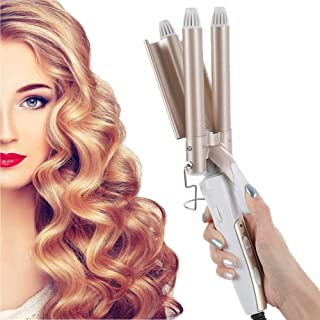duoying 3 Barrel Curling Iron Wand, 25 mm Curling Tongs, Hair Crimpers for Short/Long Hair, Quick Heating Large Wave Hair ...