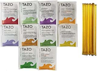 Tazo Tea Bags Sampler Gift Variety Pack 40 Count Box Set With 10 Honey Sticks