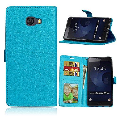 Fatcatparadise Cover per Samsung Galaxy C9 PRO [con Pellicola in Vetro Temperato], Cuoio Portafoglio Flip Magnetico Case Simple Wallet Case Custodia in PU Cover (Blu)