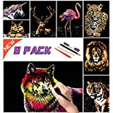 Scratch Rainbow Painting Art Paper,Scratch & Sketch Art for Kids & Adults,Scratch Painting Creative Gift Engraving Art & Craft Set,Sketch Pad Diy Scratchboard with 4 Tools,11.7''x8.3''(Animal Series)