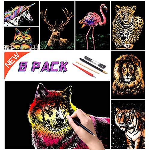 SiYear Scratch Paper Rainbow Painting Sketch, City Series Night Scene, Scratch Painting Regalo Creativo, Scratchboard para Adultos y niños con 4 Herramientas