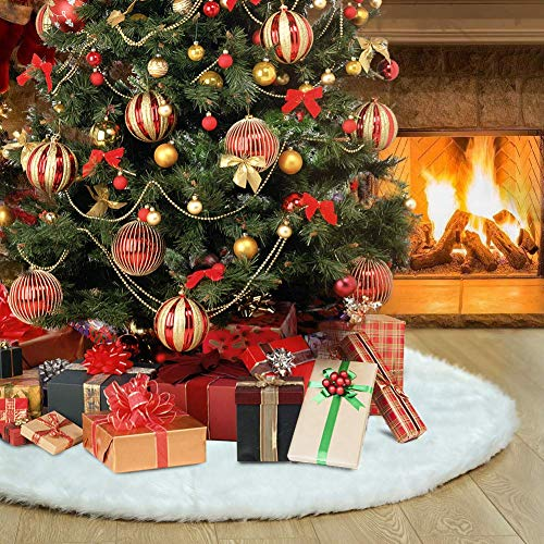TOBEHIGHER Christmas Tree Skirt, 48 inches White Christmas Tree Skirt, High-End Soft Classic Fluffy Faux Fur Tree Skirt for Xmas Tree Decorations and Ornaments