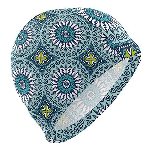 ALINLO Gorro de natación con diseño de flores florales, étnico colorido irregular de la geometría del blosoom gorro de natación impermeable para el pelo de la ducha para adultos, hombres, mujeres, jóvenes, niñas y niños