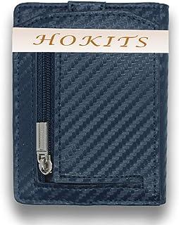 portafoglio uomo porta documenti portacarte di credito piccolo portatessere fermasoldi (Blu)