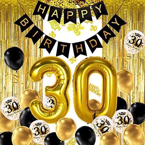 iZoeL Schwarz Gold Geburtstag Deko 18 21 30 40 50 Zahlenballon Happy Birthday Banner 24 Konfetti Ballons 2 Vorhänge 10g Konfetti für Mann Frau (Schwarz Gold 30)