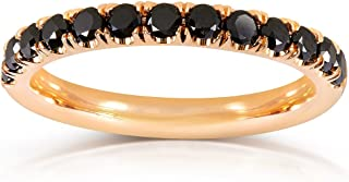 Kobelli Black Diamond Comfort Fit Flame French Pave Band 1/2 Carat (ctw) in 14K Yellow Gold