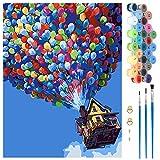 Pintar por Numeros, Pintura por Números Globo Kits, Colorear por Numeros para Adultos Niños, DIY Pintar por Números Decoraciones para el Hogar, Sin Marco (40x50CM)