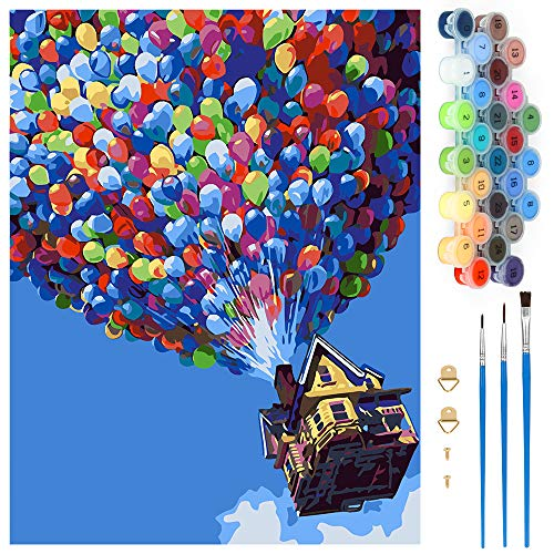 Wishstar Pintar por Numeros, Pintura por Números Globo Kits, Colorear por Numeros para Adultos Niños, DIY Pintar por Números Decoraciones para el Hogar, Sin Marco (40x50CM)