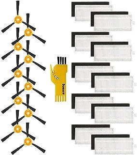 10 filtres et 10 brosses latérales pour robots aspirateurs Lefant M201 M301 M501-A M501-B M520 T700 M571 20 packs d'access...