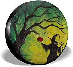 HUYNF Spare Tire Cover Witch Painting Waterproof Sun Protector Dust - Proof Wheel Covers Universal Fit for Jeep, Trailer, RV, SUV, Truck and Other Vehicle, Fits 24