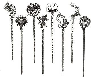Dilla Beauty GOT Game of Thrones Costume Hairpins Merchandise Daenerys Targaryen Stark Mother of Dragon Iron Throne Hair Pins (Silver)