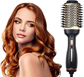 AU Plug Hot Air Brush 3-in-1 Negative Ion Straightening Brush Salon Hair Straightener Brush Curler for All Hair Types