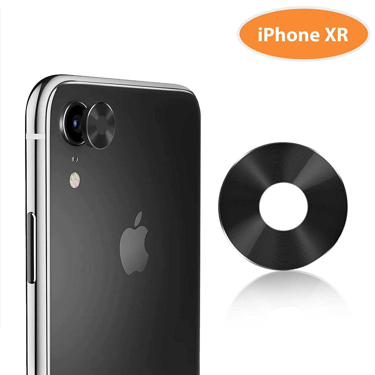 """TINICR iPhone XR Camera Lens Protector Premium Aluminum Alloy Back Rear Camera Lens Screen Cover Case Shield Compatible for iPhone XR 6.1"""" (2018), Black"""
