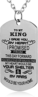 Gift Ideas to My Love Husband Wife Boyfriend Girlfriend Fiance Fiancee Military Dog Tag Necklace