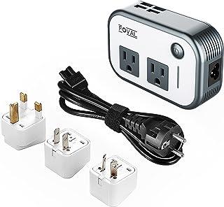 Foval Power Step Down 220V to 110V Voltage Converter 4-Port USB International Travel Adapter UK European Etc - [Use US app...