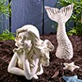 The Lakeside Collection 2-Pc. Ceramic Mermaid Statue - Nautical Fairy Tale Garden Accent