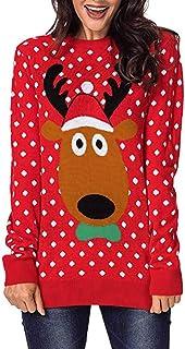 comprar comparacion Lenfesh Christmas Pullover Tops Patrón de Renos Camiseta Navidad de Manga Larga Estampado de Lunares Camisetas Largo de Mu...