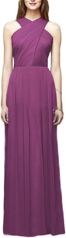 YIRENWANSHA A Line Ruffled Womens Long Halter Fashion Bridesmaid Dresses Evening Gown SHBD57