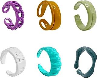 JonXon 6 pcs Y2K Jewelry Chunky Rings Cute Trendy Colorful Funky Rings Set for Women
