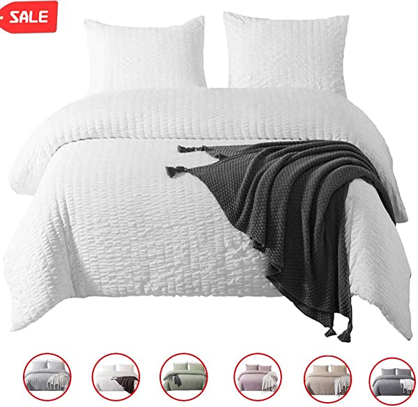 DuShow King Duvet Cover Set Solid White Bedding Set 3 Pieces 1 Duvet Cover 2 Pillowcases Seersucker Hotel Quality Comforter Cover Set With Zipper Closure