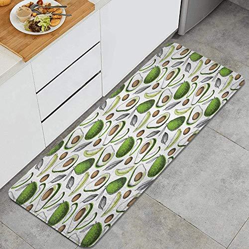 LISNIANY Küchenfußmatten Küche Bodenmatte Komfort,Bio Avocado hinterlässt Detox Antioxidans Lifestyle Stay Young Print,rutschfeste Küche Teppiche Indoor Outdoor