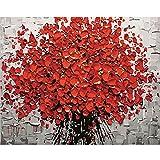 Gosear Pintura por números Red Plum Blossom - DIY Pintura al óleo Lienzo por Números con Pintura acrílica para el hogar Salón Decoraciones de la Imagen de la Oficina (40 x 50 cm/15.75 x 19.69 Inch)
